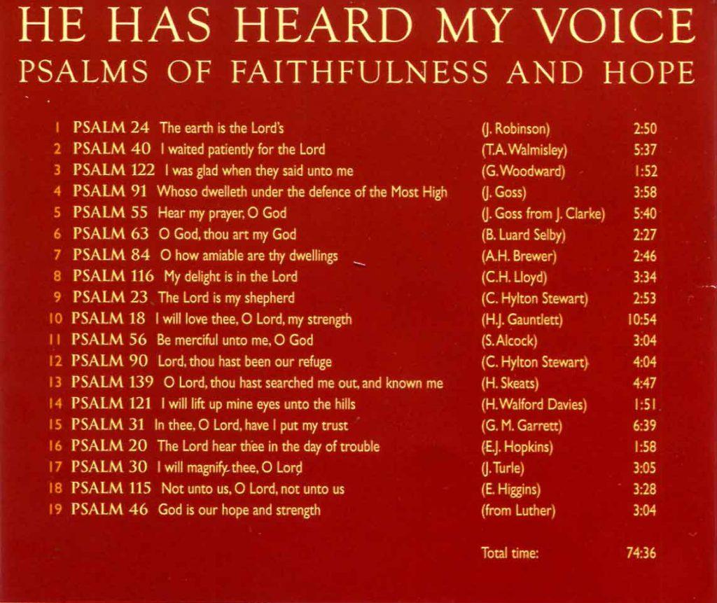 "CD back card ""He has heard my Voice"""