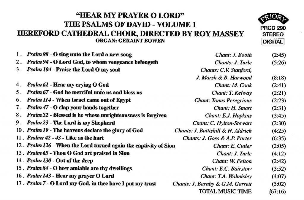 "CD back card ""Hear my prayer O Lord - The Psalms of David"" - Series 1, Volume 1"