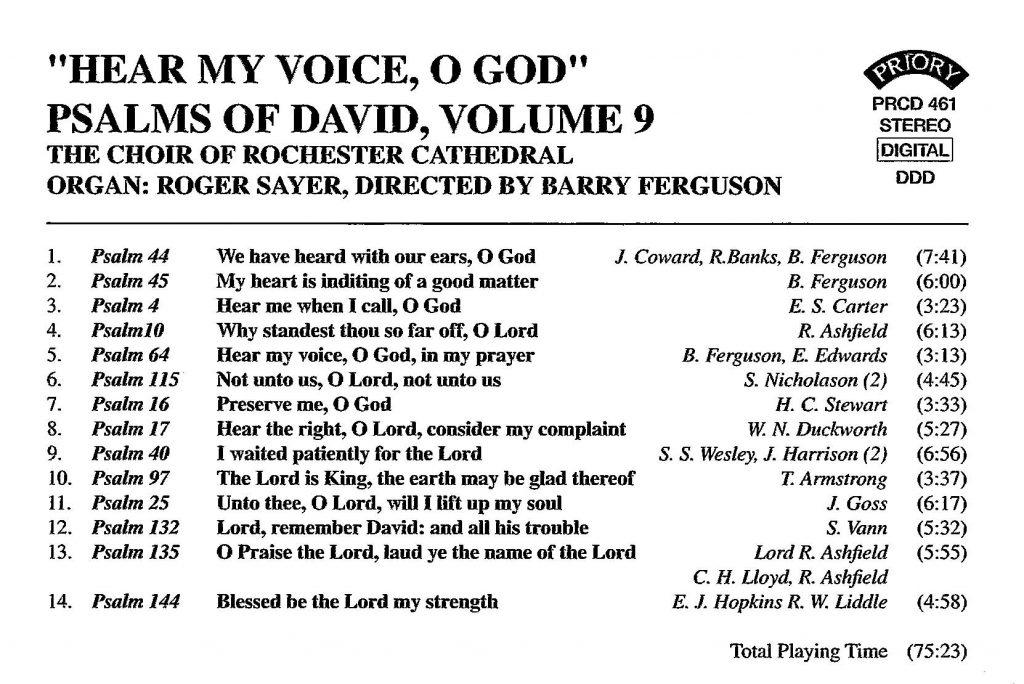 "CD back card ""Hear my voice, O God - The Psalms of David"" - Series 1, Volume 9"