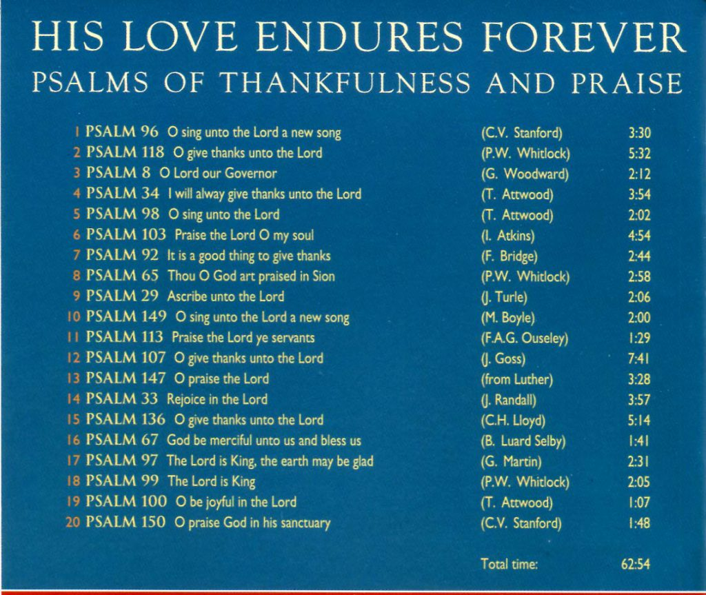 "CD back card ""His love endures Forever"""