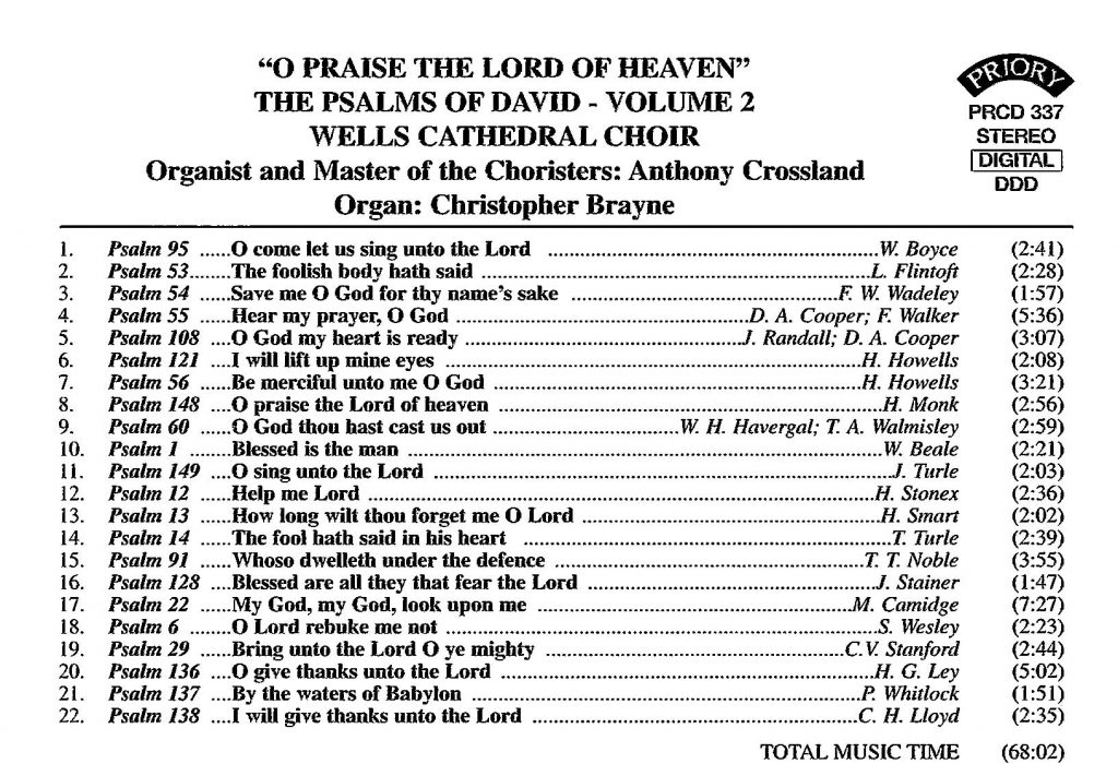 """CD back card """"O praise the Lord of heaven - The Psalms of David"""" - Series 1, Volume 2"""