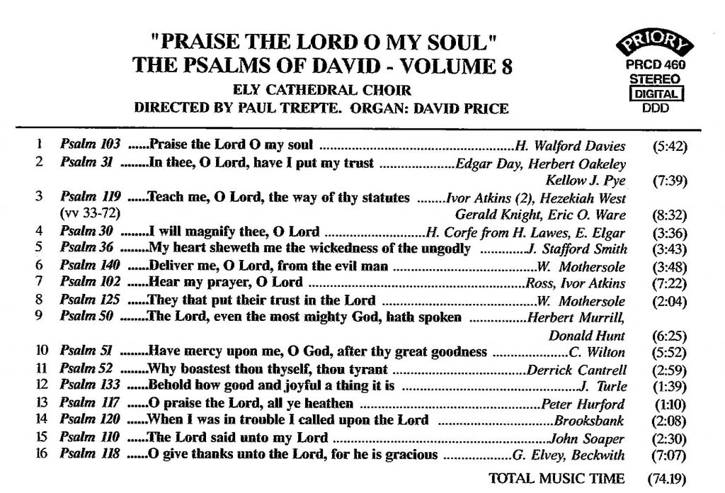 """CD back card """"Praise the Lord O my soul - The Psalms of David"""" - Series 1, Volume 8"""
