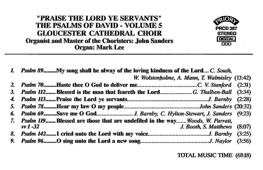 "CD back card ""Praise the Lord ye servants - The Psalms of David"" - Series 1, Volume 5"