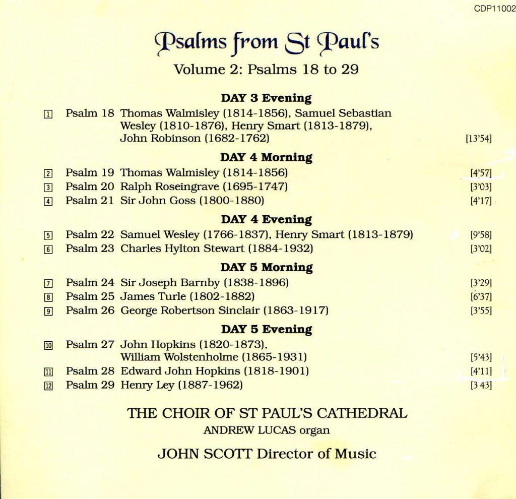"CD back card ""Psalms from St Paul's"" - Volume 2"
