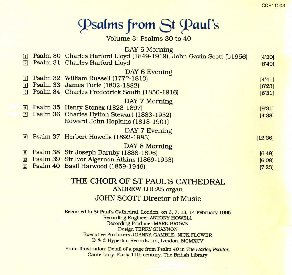 "CD back card ""Psalms from St Paul's"" - Volume 3"