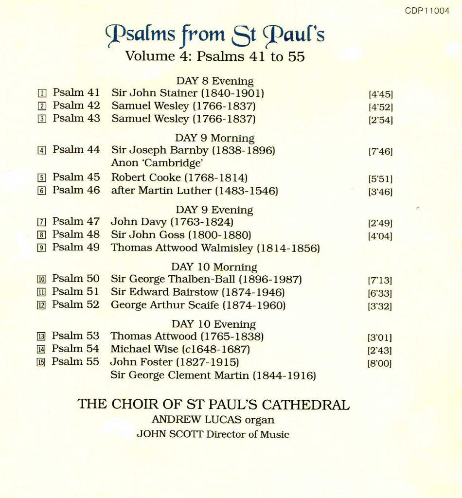"CD back card ""Psalms from St Paul's"" - Volume 4"