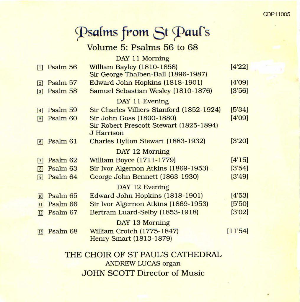 "CD back card ""Psalms from St Paul's"" - Volume 5"