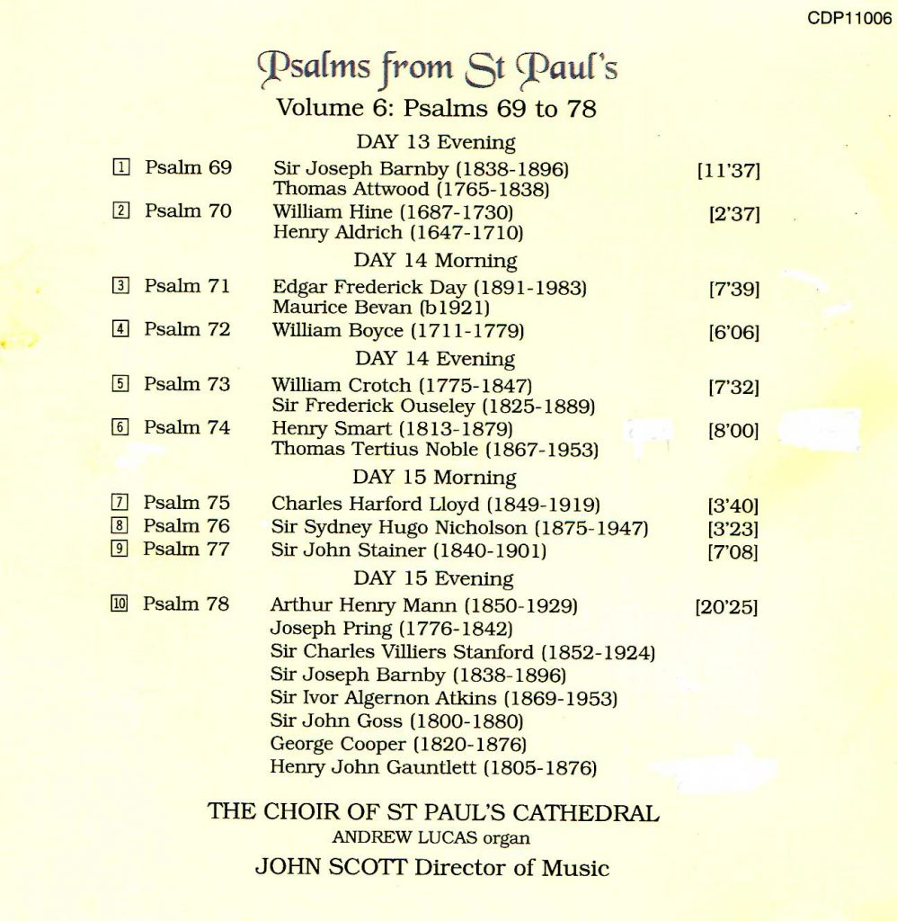 "CD back card ""Psalms from St Paul's"" - Volume 6"