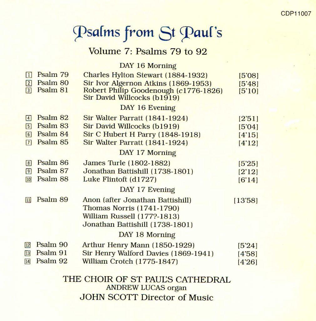 "CD back card ""Psalms from St Paul's"" - Volume 7"