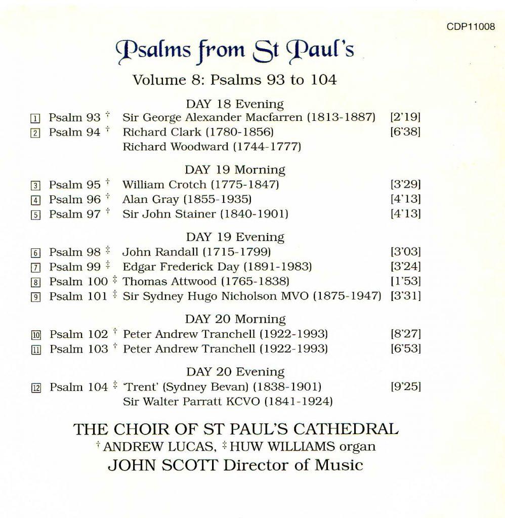 "CD back card ""Psalms from St Paul's"" - Volume 8"