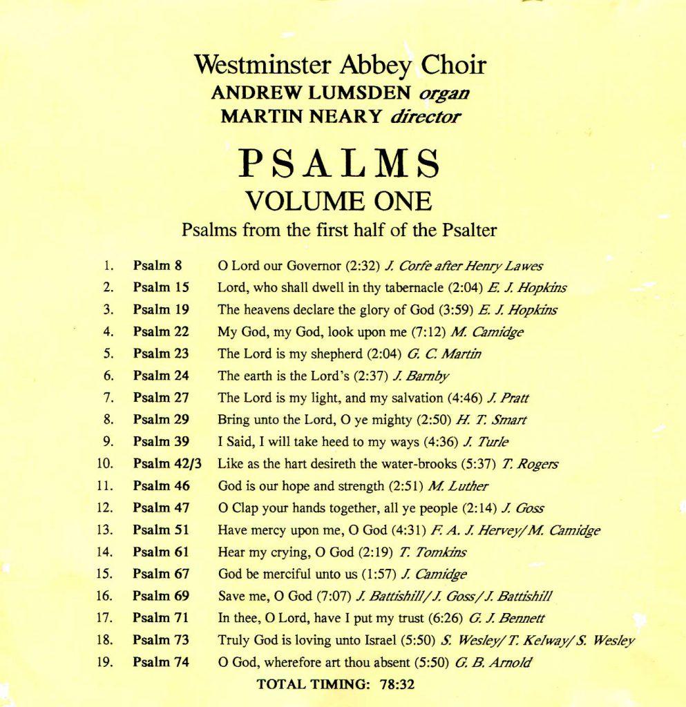 "CD back card ""Psalms"" - Volume 1"