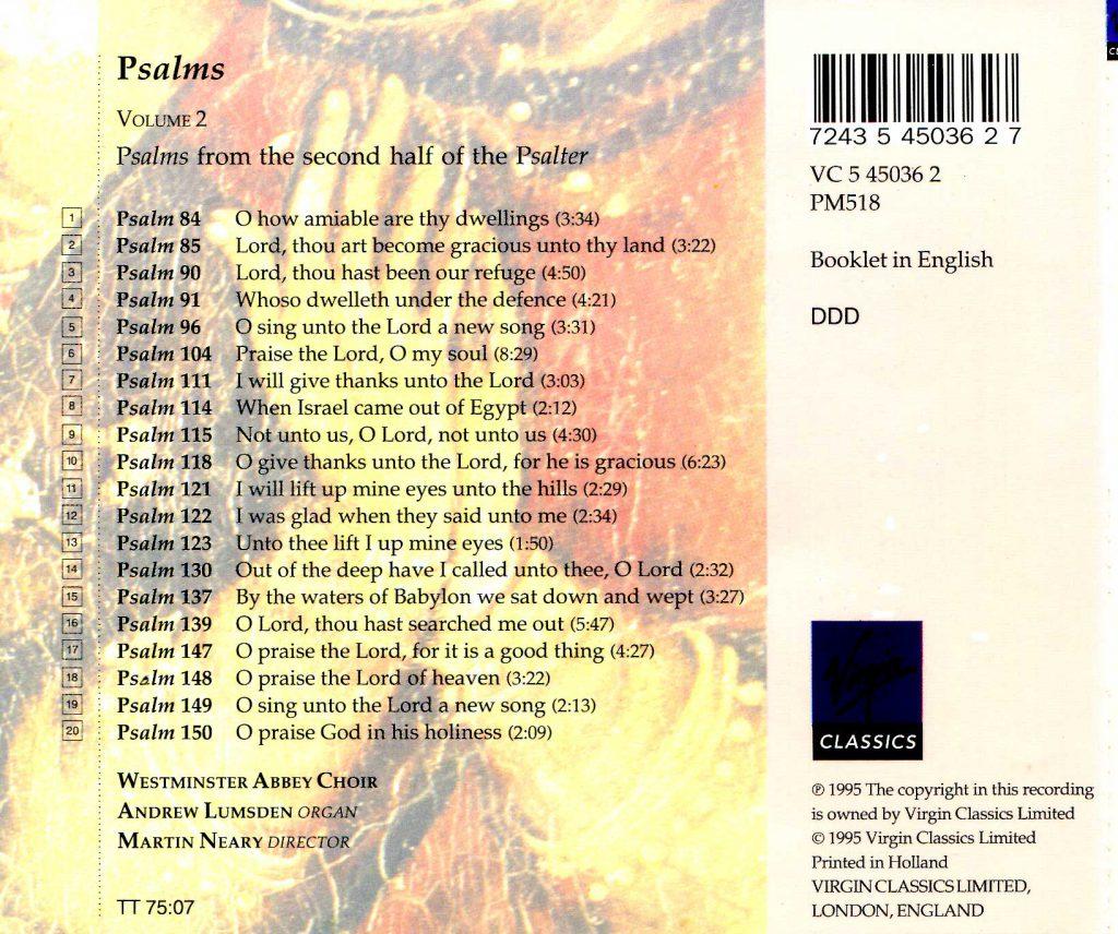 "CD back card ""Psalms"" - Volume 2"