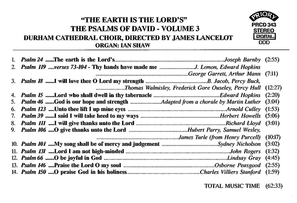 """CD back card """"The earth is the Lord's - The Psalms of David"""" - Series 1, Volume 3"""
