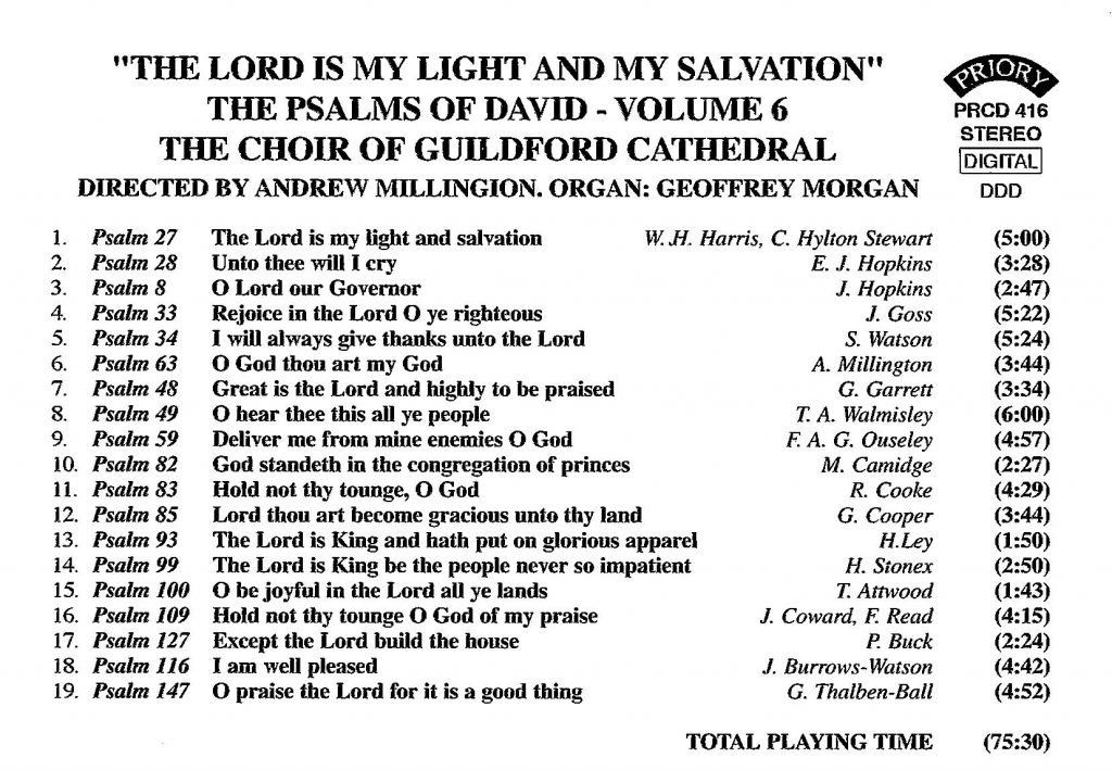 """CD back card """"The Lord is my light and my salvation - The Psalms of David"""" - Series 1, Volume 6"""