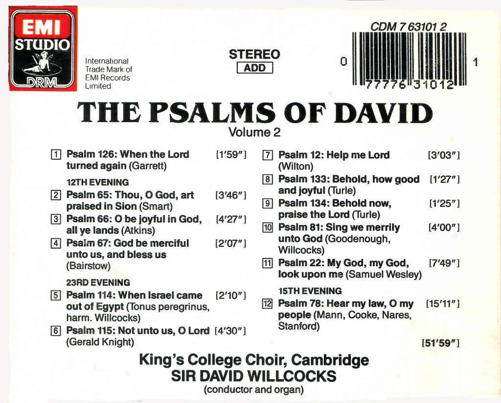 "CD back card ""The Psalms of David"" - Volume 2"