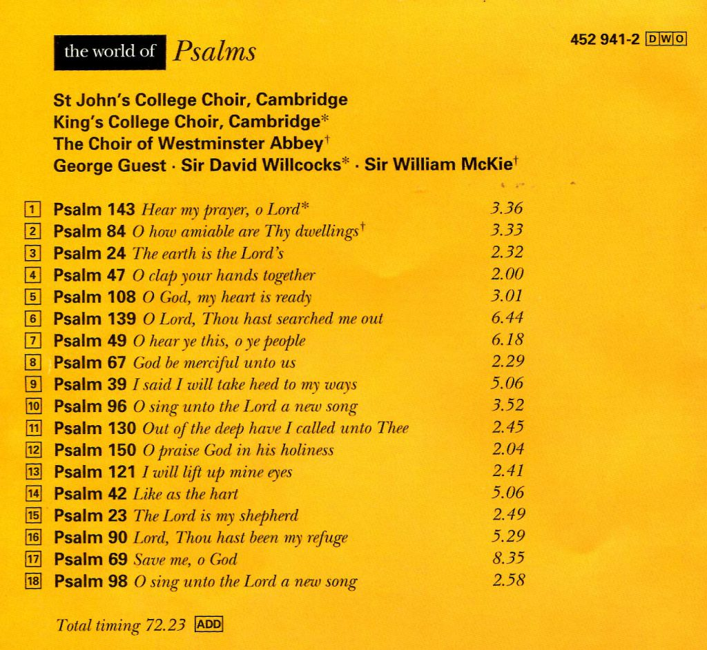 """CD back card """"The World of Psalms"""""""