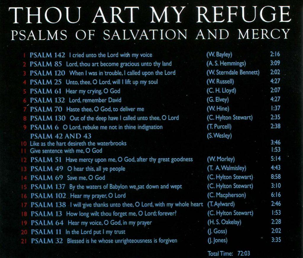 """CD back card """"Thou art my Refuge"""""""