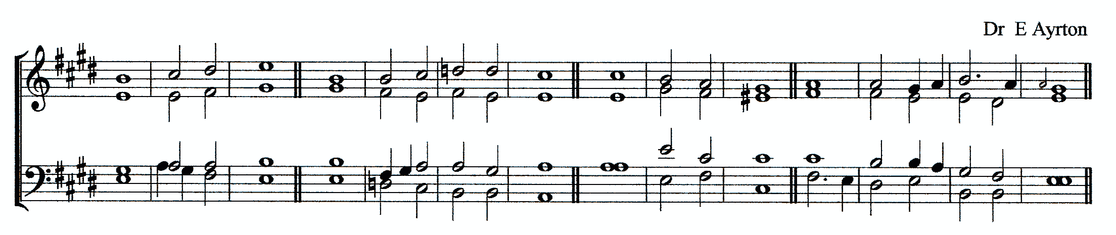 Double chant in E major by Doctor Edmund Ayrton