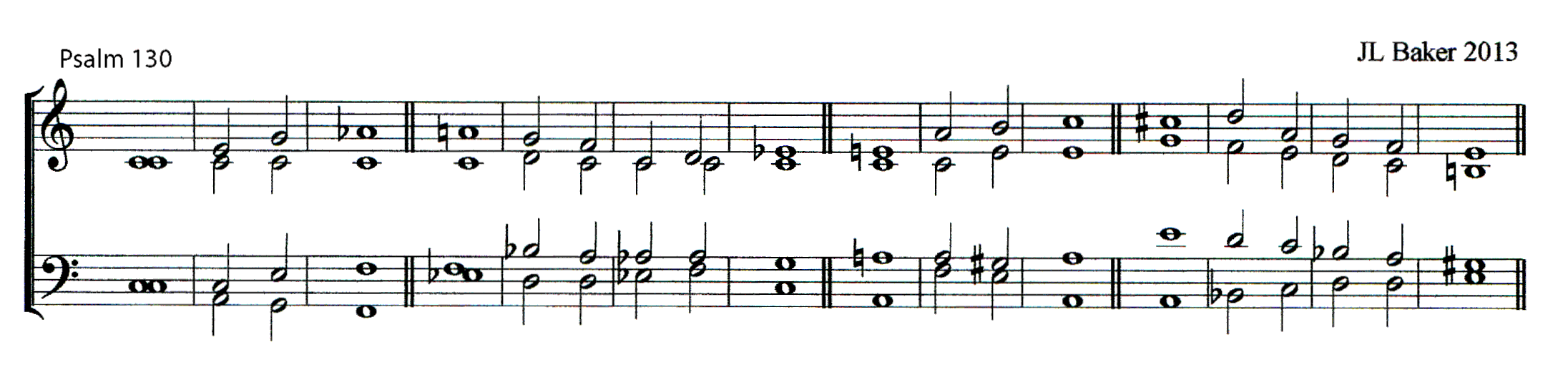 Double chant in C major by John Lawson Baker (1939-2015) set to Psalm 130