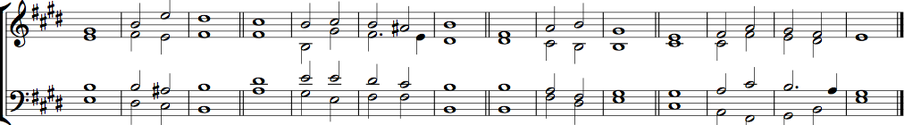 Double chant in E major by William Hawes