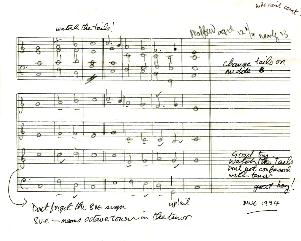 First version of a single chant in C major by Matthew Kirk