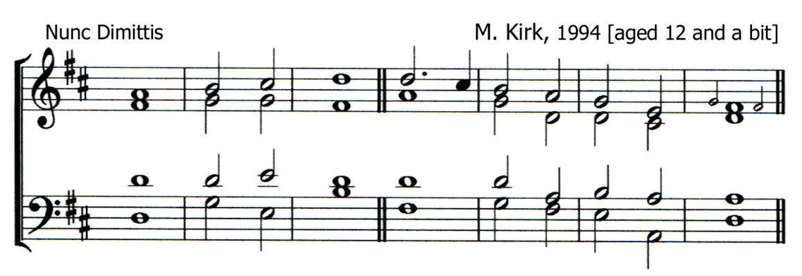 Fifth version of a single chant in D major by Matthew Kirk set for the Nunc Dimittis
