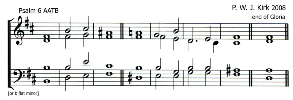 Single chant in B minor by Peter William John Kirk set for Psalm 6