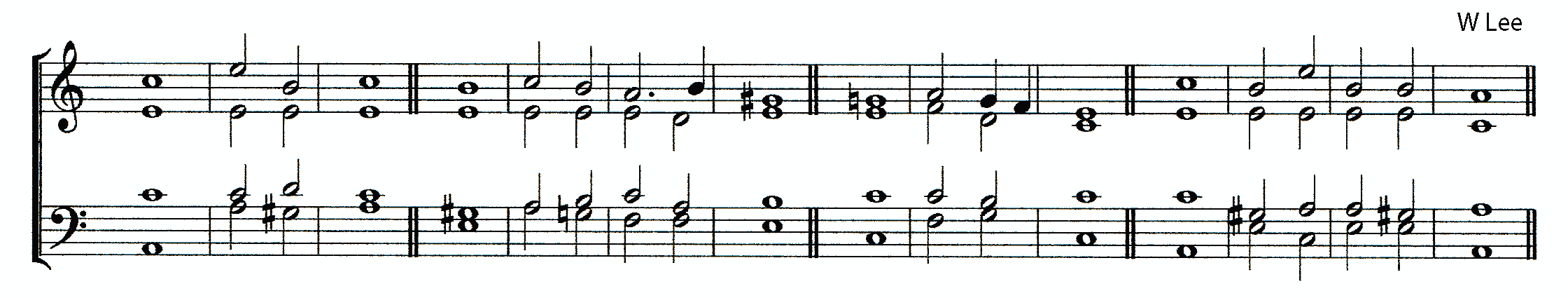 Double chant in A minor by William Lee