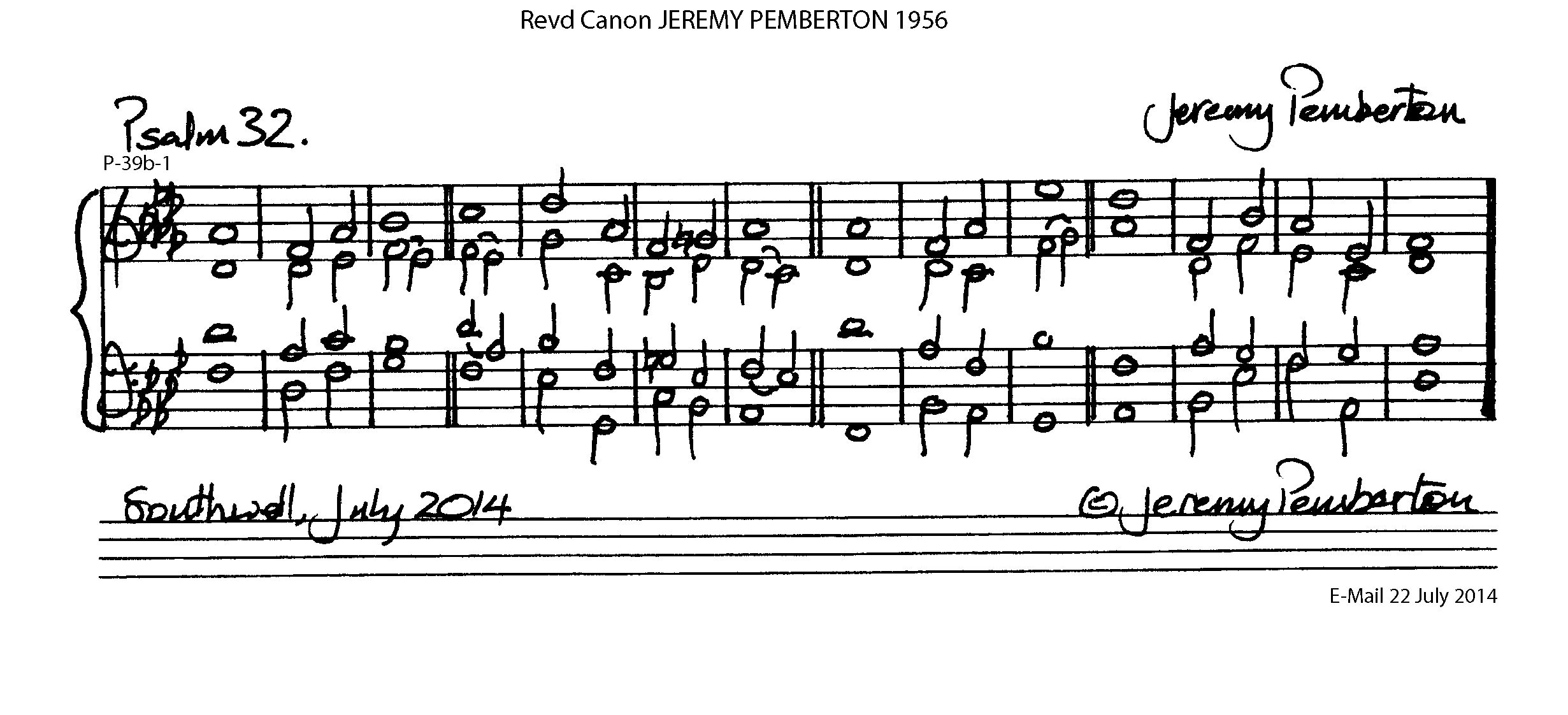 Double chant in D flat major by Reverend Canon Jeremy Pemberton set for Psalm 32