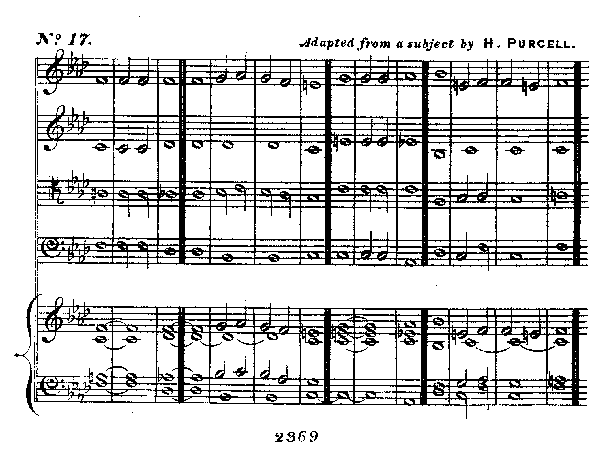 Double chant in F minor adapted from a subject by H Purcell set to Psalm 130