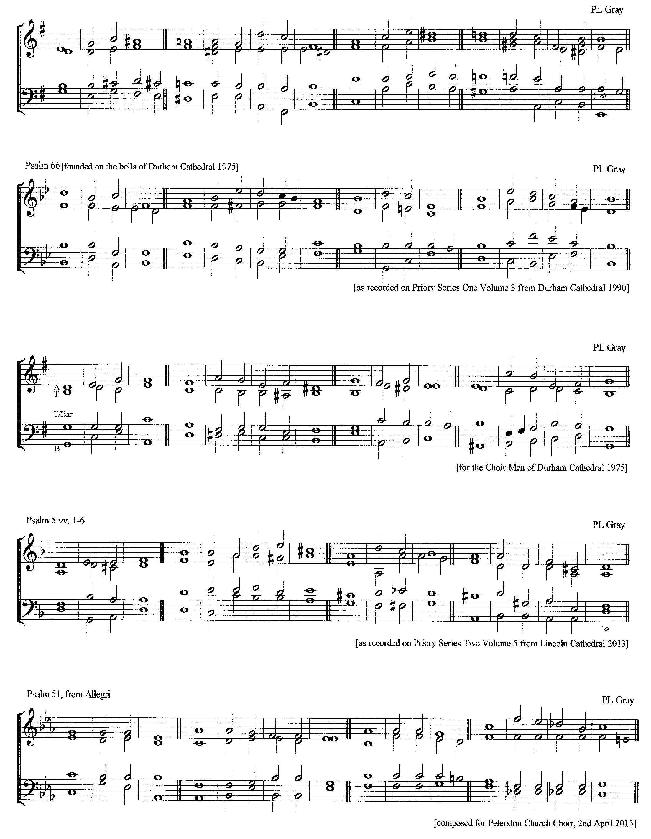 Various chants by Lindsay Gray set for various psalms